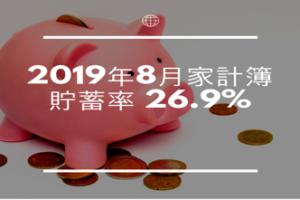 3人家族の家計簿公開  2019年8月貯蓄率+26.9%